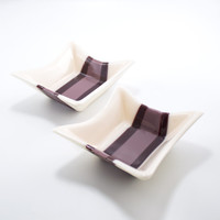 Unique Square Fused Glass Bowls, Set of 2, Purple Home Decor, Jewelry Dishes, Trinket Trays, Bathroom Accessories, Gifts for Mom