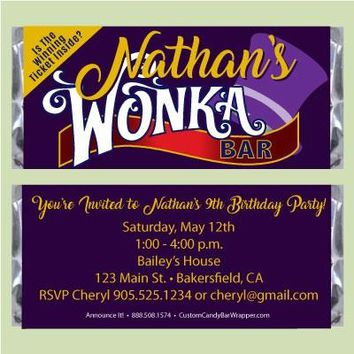 Willy Wonka Birthday Candy Bar Wrappers with Golden Ticket