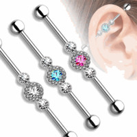 14ga Industrial Barbell Three CZ Centered Multi Paved Circle 316L Surgical Steel