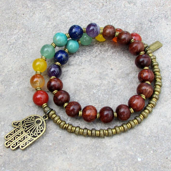 chakra, genuine gemstones and wood 27 bead mala wrap chakra bracelet™
