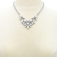 Clustered Rhinestone Statement Necklace