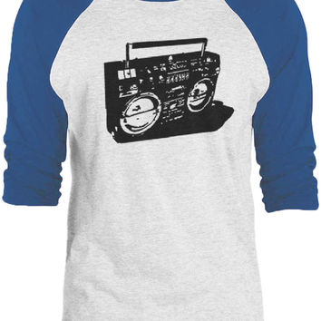Big Texas Ghetto Blaster (Black) 3/4-Sleeve Raglan Baseball T-Shirt