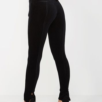 Ribbed Velour Legging - Black