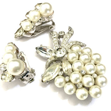 Eisenberg Ice Pearl & Rhinestone Demi, Brooch Earring Set, Faux Pearl Cluster, Clear Rhinestones Ice Accents, Vintage, Wedding Set, Signed