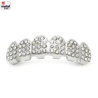 Jewelry Kay style Men's Fashion Hip Hop Silver FULL Icy CZ Mouth Caps 6 TOP GRILLZ Teeth L012 S
