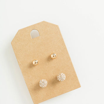 Annette Gold and Diamond Stud Earring Set
