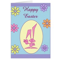 Easter Cute Bunny with Flowers Greeting Card