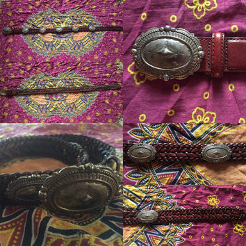Vintage 90s Dark Brown Brighton Woven Genuine Leather w/ Silver Plated Conchos and Concho Buckle Western Belt S // M 35""
