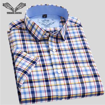 Mens Plaid Shirts Short Sleeve