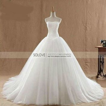 White Ivory A Line Wedding Dresses Lace Bridal Gowns Lace up Back Court Train