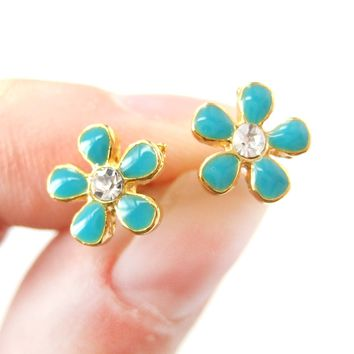 Small Daisy Floral Flower Shaped Stud Earrings in Blue on Gold with Rhinestones