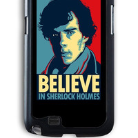 Samsung Galaxy Note 2 Case - Rubber (TPU) Cover with Believe in Sherlock Holmes Rubber Case Design
