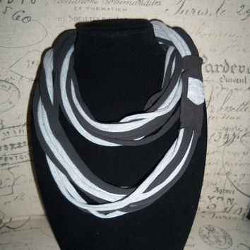 Black and Gray Infinity Scarf With A Cute Pocket.... Trendy Eternity Scarf...T-shirt  Loop Scarf....Light Weight Circle Scarf