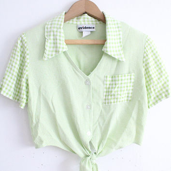 Lime Gingham 90s Crop Top
