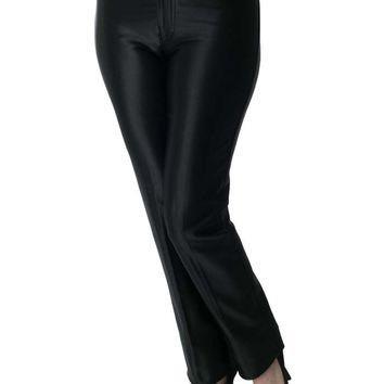 1970s Black Satin Spandex Disco Pants