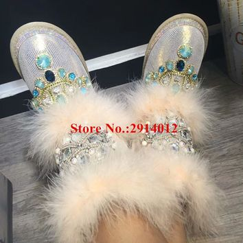 Botas Mjer Ladies Bling Luxury Crystal Jeweled Furry Fur Women Warm Winter Snow Boots New Arrival Women Boots Shoes Woman Boots