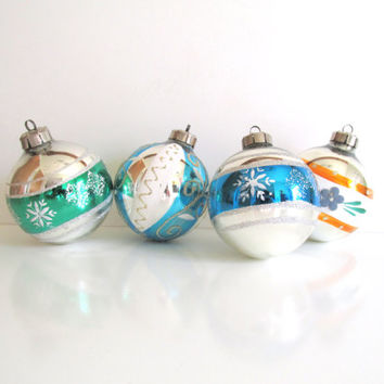 Vintage Christmas Ornaments, East Germany, Hand Painted Glass Ornaments