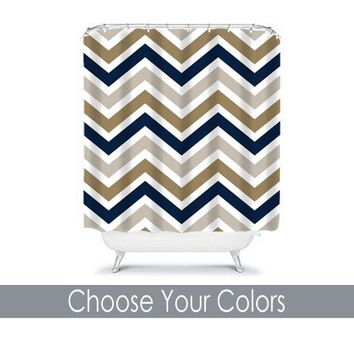 Chevron SHOWER CURTAIN Custom MONOGRAM Personalized Chevron Bathroom Decor Navy Gray Tan Colors Bath Towel,  Bath Mat