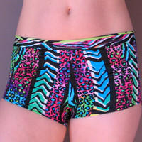 GLOWGA Bold Stripes Animal Print Bikram Hot YOGA Shorts Blacklight L