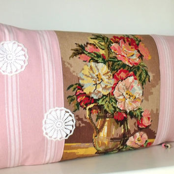 French Large Tapestry Needlepoint Floral bouquet Pink Ticking Crochet Antique Linen Bolster Pillow Cushion Cover