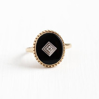 Vintage 10k Rosy Yellow Gold Black Onyx & Diamond Ring - Retro Size 8 3/4 Two Tone Oval Dark Gem Single Cut Diamond Statement Fine Jewelry
