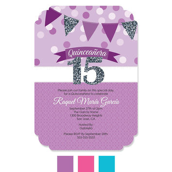 Quinceanera - Sweet 15 - Birthday Party Invitations