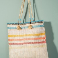 En Shalla Preppy-Striped Tote
