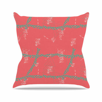 "Love Midge ""Bold Geometric"" Coral Aqua Throw Pillow"