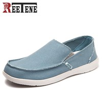 REETENE Canvas Shoes Men's Sneakers Breathable Ultra-light Loafers Slip-On Mens Casual Shoes Hot Sale Spring Walking Flats 44 45
