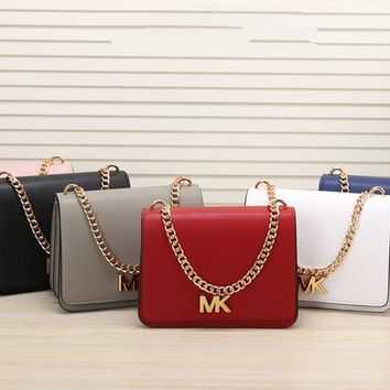 michael kors women simple fashion letter metal chain single shoulder messenger bag mk flip small square bag