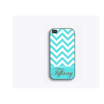 Tiffany Blue Chevron Personalized Phone Case, for iPhone 5, iPhone 5s, iPhone 5c, iPhone 4, iPhone 4s, Galaxy S3, S4 and S5.  FCM106