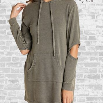 Washed Hoodie Tunic - Sage - Small only