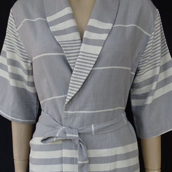 Women's gray colour soft and light weight cotton kimono bathrobe, bridesmaid robe, dressing gown, spa robe, pool robe.
