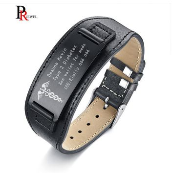 "Medical Alert ID Bracelets for Men Genuine Leather Wrap Bracelet 6.69""-8.66"" Personalize Free Engrave Name Disease ICE Info"