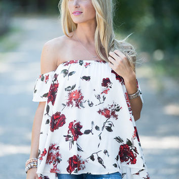 Field of Dreams Off the Shoulder Top Ivory
