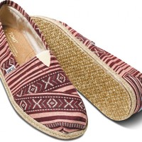 TOMS Red Brazilian Weave Men's Classics Slip-On Shoes,