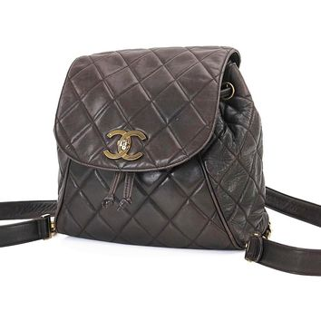 Auth CHANEL Brown Quilted Lambskin Leather CC Clasp Chain Backpack Bag #27394