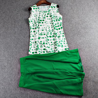 Green Paint Brush Printed Sleeveless Tops And Midi Skirt