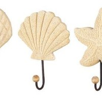 Sea Shell Starfish Beach Coat Wall Hooks Home Decor-Set of 3