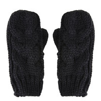 Cable Knit Mittens - Black