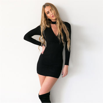 Women Long Sleeve Dress V-Neck Knitted Dress Casual Bodycon Short Sweater Dress Winter Spring Warm +Free Gift -Random Necklace