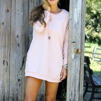 Keep Calm & Carefree Blush Raglan Sweatshirt Dress