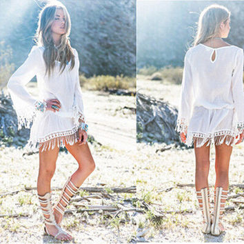 Hot Sale Sexy Long Sleeve Lace Tassels Hollow Out Beach One Piece Dress [6339015233]