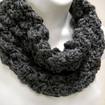 Black Infinity Loop Cowl,  Crochet Circle Scarf, Mens Neckwarmer, Womens Accessories