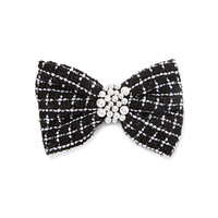 FOREVER 21 Tweed Bow Hair Barrette Black/Cream One