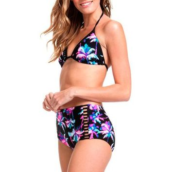 OP Juniors Retro Oasis High-Waisted Bikini Bottom With Cutouts - Walmart.com