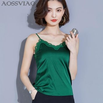 2018 Silk Fashion Women Sexy Camisole Top New Ladies White Sleeveless Tank Tops Evening Party Club Patchwork Lace Vest S-2XL