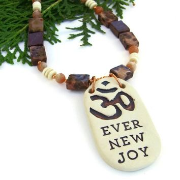 Om Aum Handmade Pendant Necklace, Jasper Sunstone Bone Artisan Yoga Jewelry