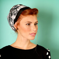 Gray head scarf – Floral headcovering  – Hair snoods – Satin Headpiece