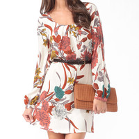 Textured Floral Dress w/ Belt